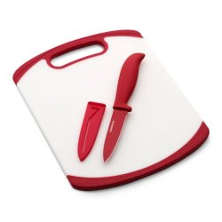 Farberware 8-Inch X 10-Inch Poly Board With 3.5In Resin Parer And Sheath; Red