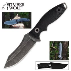 Timber Wolf Atomic Steel Full Tang Stonewash Tactical Drop Point Blade