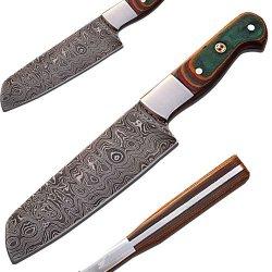 Custom Handmade Damascus Chef Knife Tanto Micarta Wood Handle