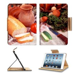 Cucumber Bread Tomato Baked Goods Herbs Knife Apple Ipad Mini Retina Display Flip Case Stand Smart Magnetic Cover Open Ports Customized Made To Order Support Ready Premium Deluxe Pu Leather 8 Inch (205Mm) X 5 1/2 Inch (140Mm) X 11/16 Inch (17Mm) Liil Ipad