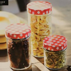 Glass Kitchen Canister Set Of 3 Red White Checkered Lids Country Style 31885