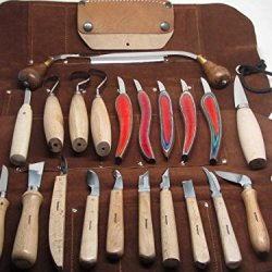 24Pc Imported Wood Carving Knives Scorp Whittling Drawknife Tool Roll Ramelson