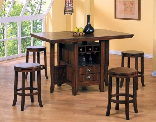 Image of 5pc Counter Height Kitchen Island Table & Stools Set Dark Oak Finish (VF_Dinset-AM6300-AM6302)