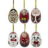 """Set of 6 pcs/ 2.75"""" Santa, Snowman, Teddy Bear, Matryoshka Wooden Christmas Ornaments"""