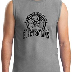 Created Equal, Some Boys Become Men Electricians Sleeveless T-Shirt Large Sport Grey