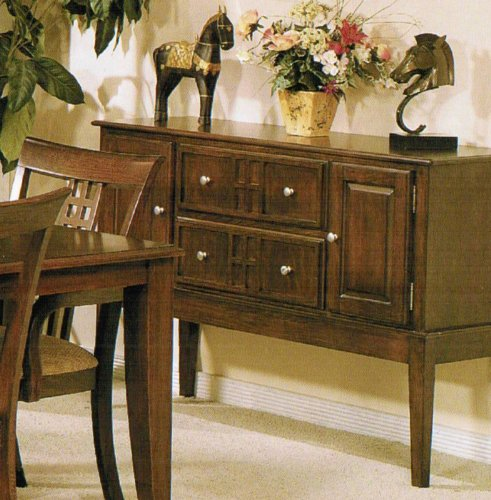 Image of Server Sideboard with Storage Drawers - Brown Finish (VF_F6045)