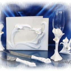 Wedding Guest Book, Toasting Glasses, Cake Knife And Pen Set W043F
