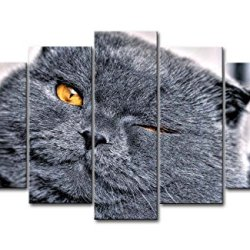 Black & White 5 Piece Wall Art Painting Winking Cat With Golden Eyes Pictures Prints On Canvas Animal The Picture Decor Oil For Home Modern Decoration Print For Living Room