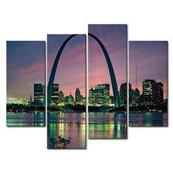 4 Panel Wall Art Painting Saint Louis Arch Building Pictures Prints On Canvas City The Picture Decor Oil For Home Modern Decoration Print For Kids Room