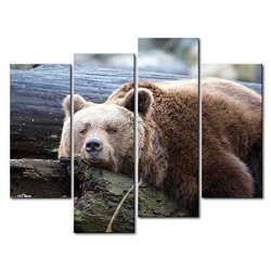 4 Panel Wall Art Painting Lazy Bear On The Tree Trunk Prints On Canvas The Picture Animal Pictures Oil For Home Modern Decoration Print Decor For Kitchen