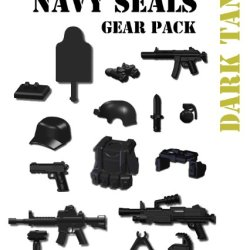 Navy Seals Gear Pack In Dark Tan (12 Pieces) - Lego Compatible Pieces (Minifigure Not Included)