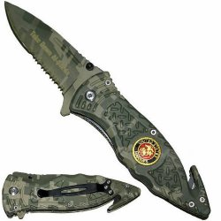 "3.25"" ""U.S. Marine Corps"" Heavy Duty Spring Assisted Rescue Knife - Green Camo"