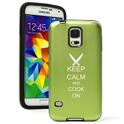 Samsung Galaxy S5 Aluminum Silicone Dual Layer Hard Case Cover Keep Calm And Cook On Chef Knives (Green)