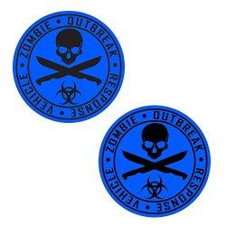 Auto Vynamics - Zorv-Machetes-10Bg-Gblablu - Gloss Black & Blue 2-Color Vinyl Zombie Outbreak Response Vehicle (Zorv) Decal - Crossed Machetes Design - Matching Pair - (2) Piece Kit - 10.5-By-10.5-Inches