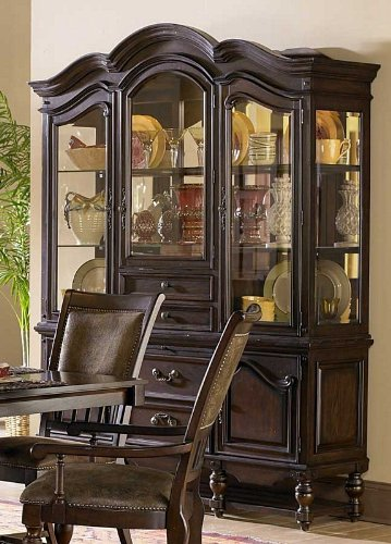 Image of China Cabinet Buffet Hutch Arched Top in Rustic Burnished Oak (VF_HE1380-50)