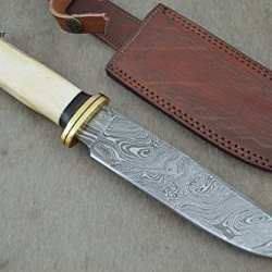 "Christmas Gift By Leather-N-Dagger | Professional High Quality Custom Handmade Damascus Steel 11.50"" Bowie Hunting Knife (100% Satisfaction Guaranteed) Great Gift Ld200"