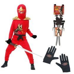 Red Ninja Avengers Series Ii Child Costume With Gloves, Ninja Weapon Backpack, L