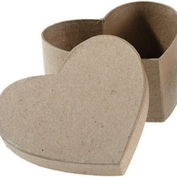 Darice Paper Mache Heart Box With Lid, 4.5 By 4.5 By 2-Inch