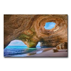 Blue Wall Art Painting Algarve Caves Portugal Small Beach Big Caves Prints On Canvas The Picture Seascape Pictures Oil For Home Modern Decoration Print Decor For Kitchen