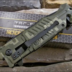 Tac Force Green Digital Camo Tactical Rescue Pocket Knife