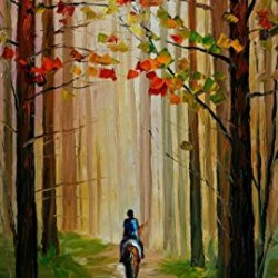 Decorative Room (Unframe And Unstretch) 100% Hand-Painted Palette Knife Oil Painting On Canvas,Autumn Stroll On A Horse,20 X 36 Inch