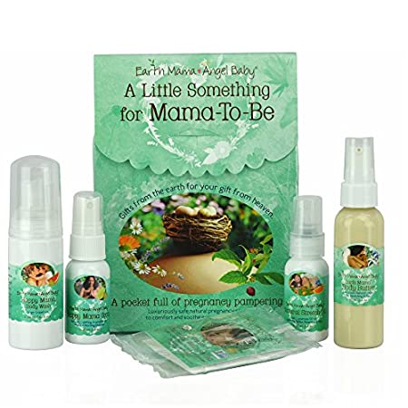 A Little Something for Mama-To-Be is a pampering natural gift for pregnant mamas, with travel sizes of Earth Mama's pregnancy safe comfort care: exhilarating Ginger Grapefruit castile Happy Mama Body Wash and Morning Wellness Spray help ease the quea...