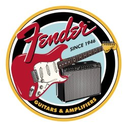 Fender® Round G&B Tin Sign