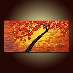 Palette Knife 12X24 In/30X60Cm Red Tree And Red Flower,Fine Art Superb Quality And Craftsmanship,Unframed Knife Painting Wall Art