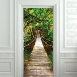 "Giant Door Sticker Rope Bridge Tropic Forest , Mural, Decole, Film 30X79"" (77X200 Cm)"