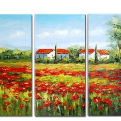 100% Hand-Painted Best-Selling Quality Goods Free Shipping Wood Framed On The Back The Knife Painting House High Q. Wall Decor Landscape Oil Painting On Canvas 3Pcs/Set Mixorde