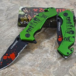Z Hunter Green Zombie Design Black Painted Stainless Steel Blade Spring Assisted Knife