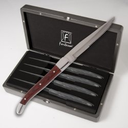 Fortessa Provencal Serrated Dark Wood Steak Knife 4 Pc. Boxe