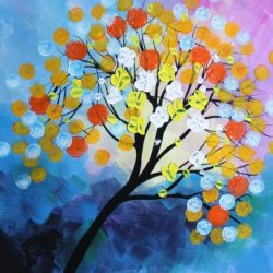 Abstract Painting Blossoming Flower Tree Agaist Colorful Sky 20X24 Original Palette Knife Artwork Thick Acrylic Modern Wall Art Decor By Artist Cheney Signed
