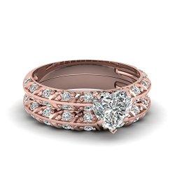 Fascinating Diamonds 1.15 Ct Heart Shaped Diamond Knife Edge Engagement Wedding Rings Pave Set Gia