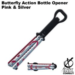 Butterfly Action Bottle Opener: Silver And Pink