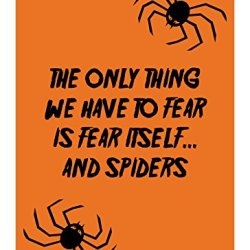 "Reflective Aluminum Halloween Sign ""The Only Thing We Have To Fear Is Fear Itself... And Spiders"" 7"" X 10"" (Hw-0462-Ra)"