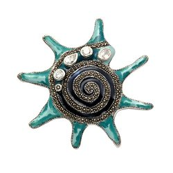 Sterling Silver Marcasite Spiney Conch Shell Pin With Blue/Green Enamel And Cz Stones