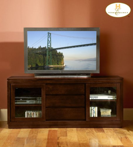 Image of Homelegance Watson 64 Inch TV Stand w/ Sliding Doors in Dark Cherry (8023-T)