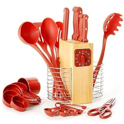 Best Red 25 Piece Cutlery And Gadget Set-Sharpest Knives Never Need Sharpening-Featuring Full Tang Blades.Sturdy Steak Knives-Shears-Kitchen Timer-Measuring Cups-Spoons-Ladle-Serving Spoon-Spatula-Spaghetti Server Complete Your Cookware Collection!