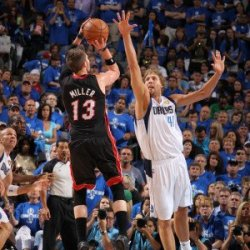 Miami Heat V Dallas Mavericks - Game Five, Dallas, Tx -June 9: Mike Miller And Dirk Nowitzki Photographic Poster Print By Nathaniel S. Butler, 8X12