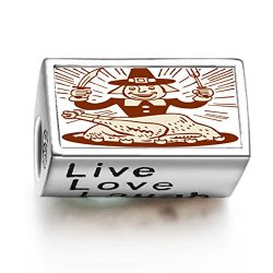 Fervent Love Thanksgiving Turkey Man With Fork Knife Photo Live Love Laugh European Charm Bead