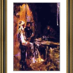 """Constantin Alexeevich Korovin Buying A Dagger - 23"""" X 28"""" Matted Framed Premium Archival Print"""