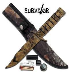 "Survivor 8.5"" Mini Survival Knife - Camo And Survival Kit"