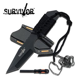 Full Tang Survival Neck Knife & Fire Starter Hk762Bk