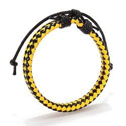 Yellow+Black Handmade Leather Bracelet Yellow Black Rope Men Bracelets By Chonlyshop