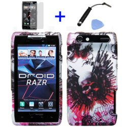 (4 Items Combo: Stylus Pen, Screen Protector Film, Case Opener, Graphic Case) Counter Strike Expendable Knives Guns Wing Red Skull Design Rubberized Snap On Hard Shell Cover Faceplate Skin Phone Case For Verizon Motorola Razr Xt912
