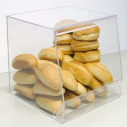 Bulk Bread Storage Display Case 1 Containers For Deli Or Convenience Stores, Bakery Sandwich Pastry Donut Or Bagel With Removable Crumb Cleanout