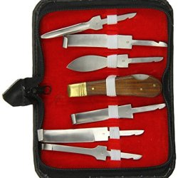 Tamsco Stainless Steel Hoof Knife Set Of Seven (7), With Six (6) Blades, All Wooden Handles, In Compact Set Zipper Case