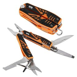 Outu® Orange Multitool Screwdriver, Knife & Pliers, Wire Cutter, Knife, Fire Maker, Flashlight, File, Saw Blade,Scissors, Multifunction Outdoor Survival Tools With Nylon Sheath