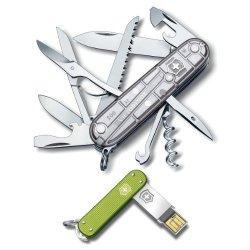Victorinox Swiss Army Knife Tech Huntsman Silver + Slim 2.0 4Gb Usb Green Alox B2B